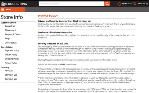 Screenshot of Privacy Page blocklighting.com - Privacy Policy - captured Nov. 6, 2018