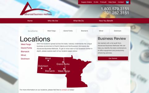 Screenshot of Locations Page abmnow.com - Locations | Advanced Business Methods - captured Oct. 4, 2014