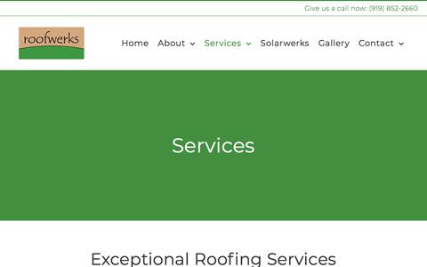 Screenshot of Services Page roofwerks.com - Services   Roofwerks - Raleigh, Durham & Chapel Hill - captured July 2, 2018