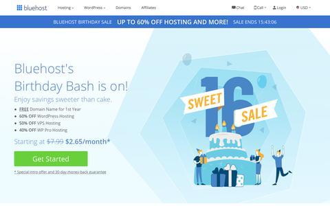 Screenshot of Home Page bluehost.com - Bluehost - Best Website Hosting Services - Secure & Reliable Hosting - captured July 16, 2019