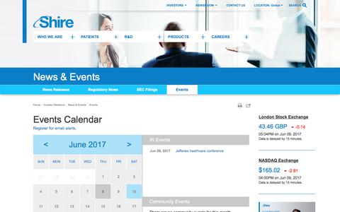 Screenshot of shire.com - Shire: Events Calendar - captured June 10, 2017