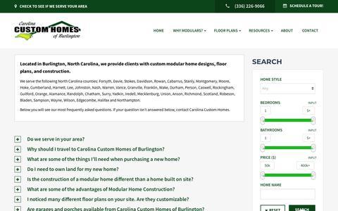 Screenshot of FAQ Page nccustommodulars.com - FAQ Archive - Carolina Custom Homes - captured Sept. 27, 2018