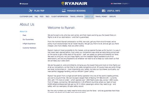 Screenshot of About Page ryanair.com - About Us | Ryanair Info - captured Sept. 19, 2014