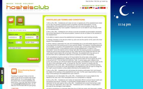 Screenshot of Privacy Page Terms Page hostelsclub.com - Terms and conditions and privacy statement - HostelsClub.com - captured Oct. 22, 2014