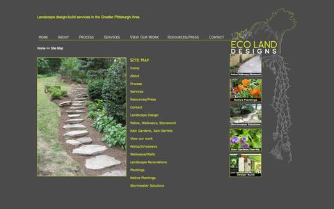 Screenshot of Site Map Page ecolanddesigns.com - Eco-Land Designs - Site Map - captured Oct. 22, 2014