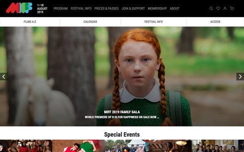 Screenshot of Home Page miff.com.au - Home | MIFF 2019 - captured July 12, 2019