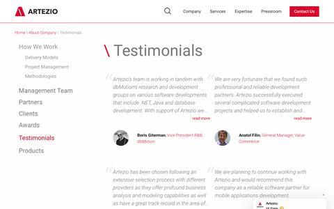 Screenshot of Testimonials Page artezio.com - Artezio   Testimonials - captured July 30, 2018