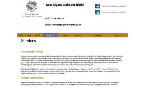 Screenshot of Services Page shineworks.co.uk - Shine Works | Services - captured Nov. 5, 2017
