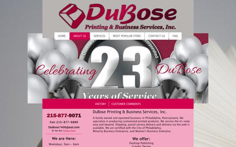 Screenshot of About Page duboseprinting.com - DuBose Business Services - About Us - captured Feb. 9, 2016