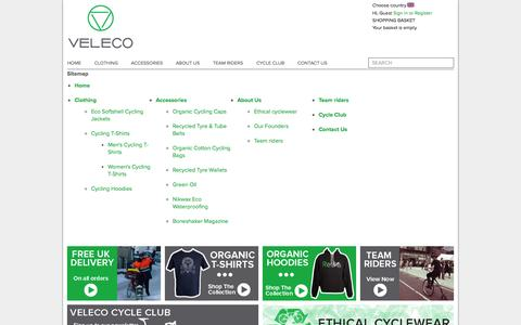 Screenshot of Site Map Page veleco.cc - Sitemap | VELECO - Ethical Cyclewear - captured Oct. 7, 2014