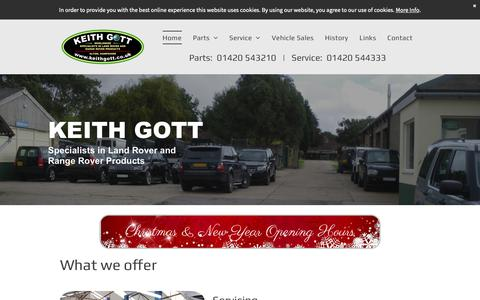 Screenshot of Home Page keithgott.co.uk - Keith Gott - Worldwide Specialists in Land Rover and Range Rover Products - captured Dec. 20, 2018
