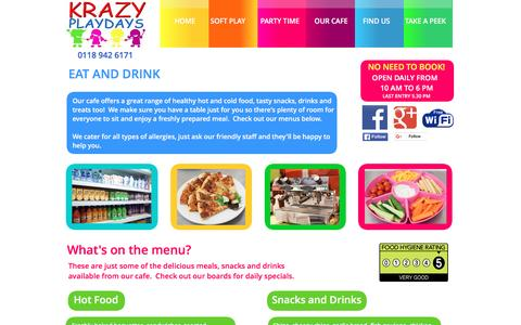 Screenshot of Menu Page krazyplaydays.co.uk - Our Cafe - Information about our range of food options at Krazy Playdays - captured July 6, 2016