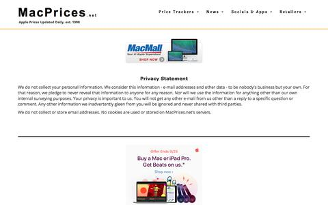 Screenshot of Privacy Page macprices.net - MacPrices.net: Privacy Statement - captured Sept. 23, 2018