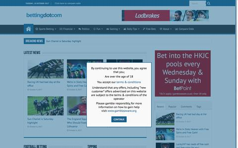 Screenshot of Home Page betting.com - betting.com | Where betting comes to life - captured Oct. 10, 2017