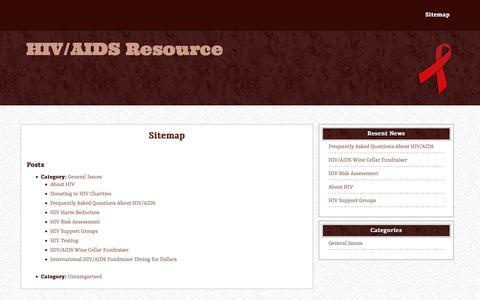 Screenshot of Site Map Page hivaidsresource.org - Sitemap – HIV/AIDS Resource - captured Jan. 18, 2020