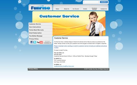 Screenshot of Support Page funrise.com - Funrise Toys   We create fun   Consumer Service - captured Jan. 26, 2017