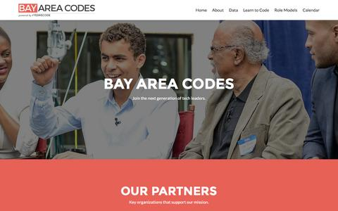 Screenshot of Home Page bayareacodes.org - Bay Area Codes - Powered by #YesWeCode - captured March 20, 2016