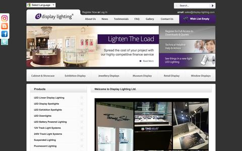Screenshot of Home Page display-lighting.com - Display Lighting Systems UK | Cabinet Lighting | Display Lights | Retail Display Lighting - captured Nov. 24, 2016