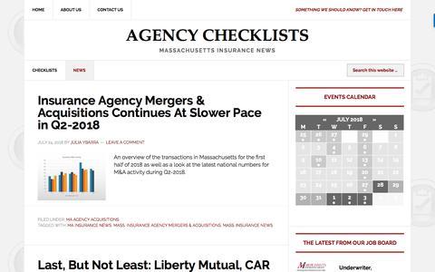 Screenshot of Press Page agencychecklists.com - Agency News | Agency Checklists - captured July 29, 2018