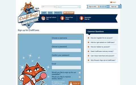 Screenshot of Signup Page craftfoxes.com - Sign Up - Craftfoxes - captured Nov. 5, 2018