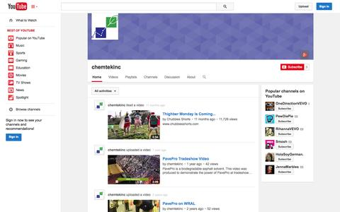 Screenshot of YouTube Page youtube.com - chemtekinc  - YouTube - captured Oct. 22, 2014