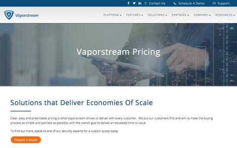 Screenshot of Pricing Page vaporstream.com - Pricing and Quotes - Secure Text Messaging | Vaporstream® - captured July 12, 2018