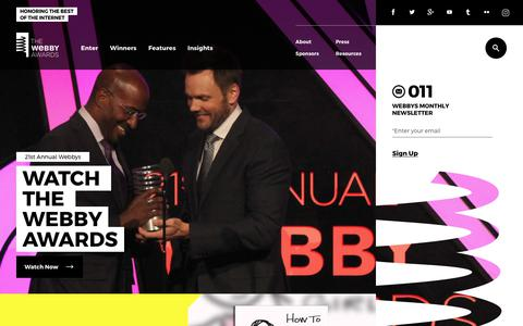Screenshot of Home Page webbyawards.com - The Webby Awards - captured July 23, 2017
