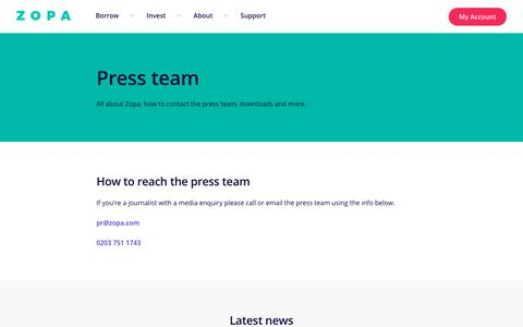 Screenshot of Press Page zopa.com - Press team | About Zopa - zopa.com - captured Nov. 7, 2019