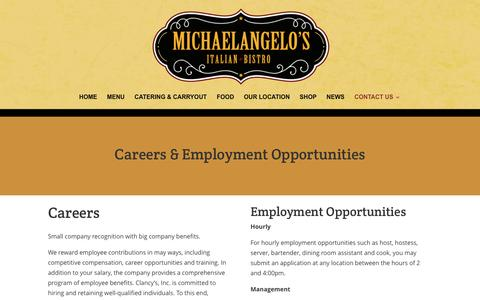 Screenshot of Jobs Page michaelangelosbistro.com - Careers - Michaelangelo's Bistro - captured March 4, 2016