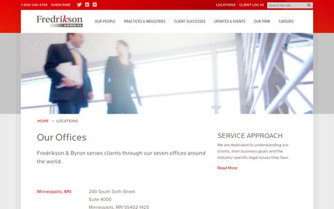 Screenshot of Locations Page fredlaw.com - Locations · Fredrikson & Byron, P.A. - captured Oct. 6, 2014