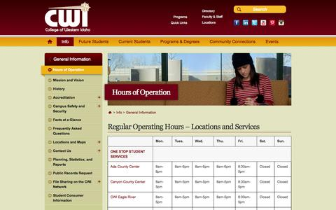 Screenshot of Hours Page cwidaho.cc - Hours of Operation | College of Western Idaho - captured Sept. 24, 2014