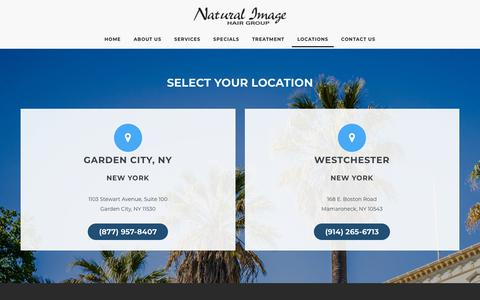 Screenshot of Locations Page naturalimagehair.com - Locations - Natural Image Hair - captured Oct. 19, 2018