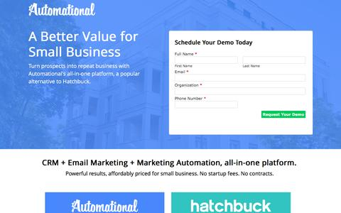 Screenshot of Landing Page automational.com - Automational vs Hatchbuck | Automational CRM & Marketing Automation - captured Oct. 27, 2016