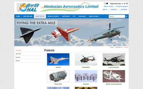 Screenshot of Products Page hal-india.com - Products - captured Nov. 23, 2015