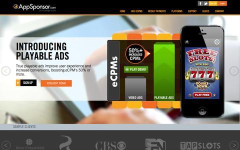 Screenshot of Support Page appsponsor.com - AppSponsor || Home - captured Oct. 10, 2014