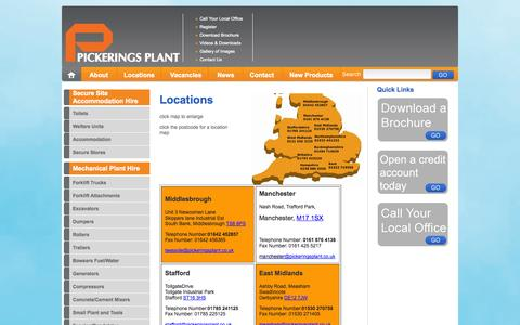 Screenshot of Locations Page pickeringsplant.co.uk captured Oct. 2, 2014