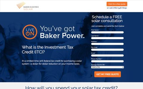 Screenshot of Landing Page bakerelectricsolar.com captured Aug. 19, 2016