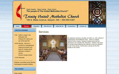 Screenshot of Services Page sequimtumc.org - Services - Sequim Trinity United Methodist - captured Oct. 31, 2018