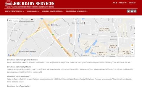 Screenshot of Maps & Directions Page jobreadyservices.net - Map - Job Ready Services - captured June 8, 2017