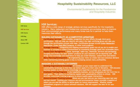 Screenshot of Services Page hospitalitysustainability.net - Hospitality Sustainability Resources, LLC - HSR Services - Lakewood, CO - captured Oct. 3, 2014