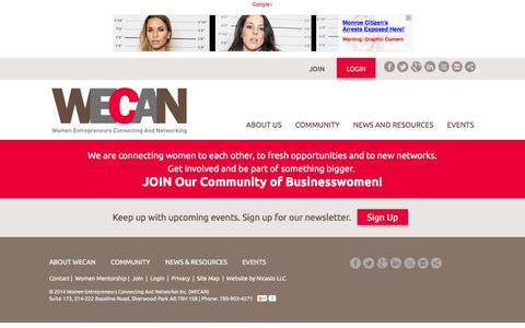 Screenshot of Privacy Page wecancanada.ca - Women Entrepreneurs Connecting And Networking (WECAN) - Privacy Policy - captured Feb. 14, 2016