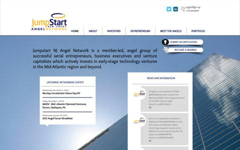 Screenshot of Home Page jumpstartnj.com - Angel Investor | United States | Jumpstart NJ Angel Network - captured Dec. 20, 2018