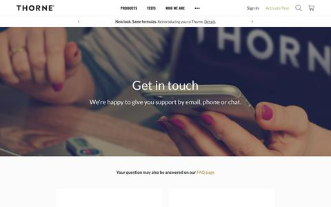 Contact Us | Thorne