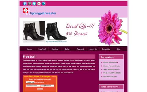 Screenshot of Trial Page clippingpathmaster.com - CPM is a Graphic design outsourcing firm, which is provide image cutout, image masking & image retouching service - captured Oct. 1, 2014
