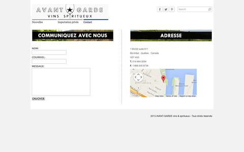 Screenshot of Contact Page agvs.ca - Contact - Agence Avant-Garde - Agence de vins  Quebec wine agency - captured Oct. 4, 2014