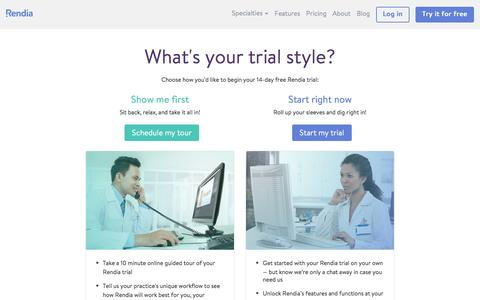 Screenshot of Trial Page rendia.com - Rendia Free Trial Style Selection | Rendia - captured Nov. 15, 2016