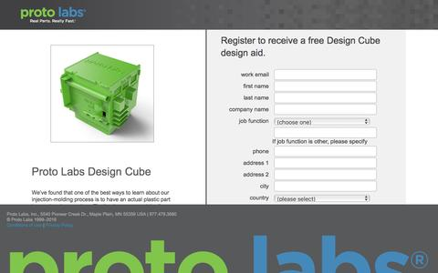 Screenshot of Landing Page protolabs.com - Register to receive a free Design Cube design aid. - captured Aug. 9, 2016