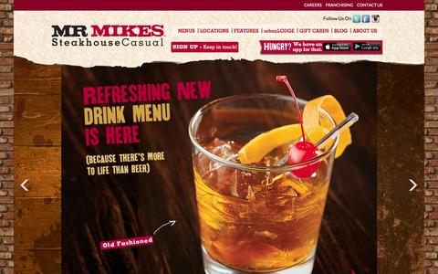 Screenshot of Home Page mrmikes.ca - Steakhouse Restaurant, Casual Dining Restaurant :: MR MIKES - captured Jan. 14, 2016