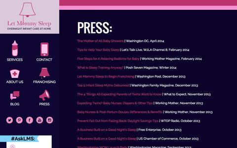 Screenshot of Press Page letmommysleep.com - Press - Let Mommy Sleep - captured Oct. 28, 2014