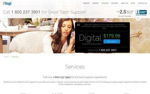 Screenshot of Services Page iyogi.com - Tech Support, Computer Support Services by iYogi - captured Sept. 11, 2014